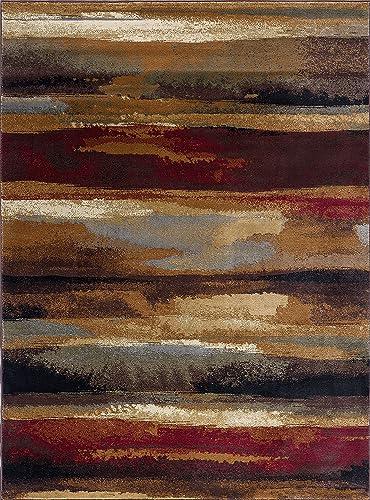Dakota Contemporary Abstract Multi-Color Rectangle Area Rug, 8 x 10