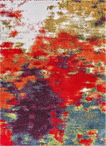 Well Woven Tribal Rhapsody Consta Modern Abstract Paint Splash Multi Area Rug 7'10″ x 9'10″