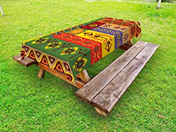 African Outdoor Tablecloth By Ambesonne, Abstract Ethnic West African  Tribal Folk Art Forms With Unique
