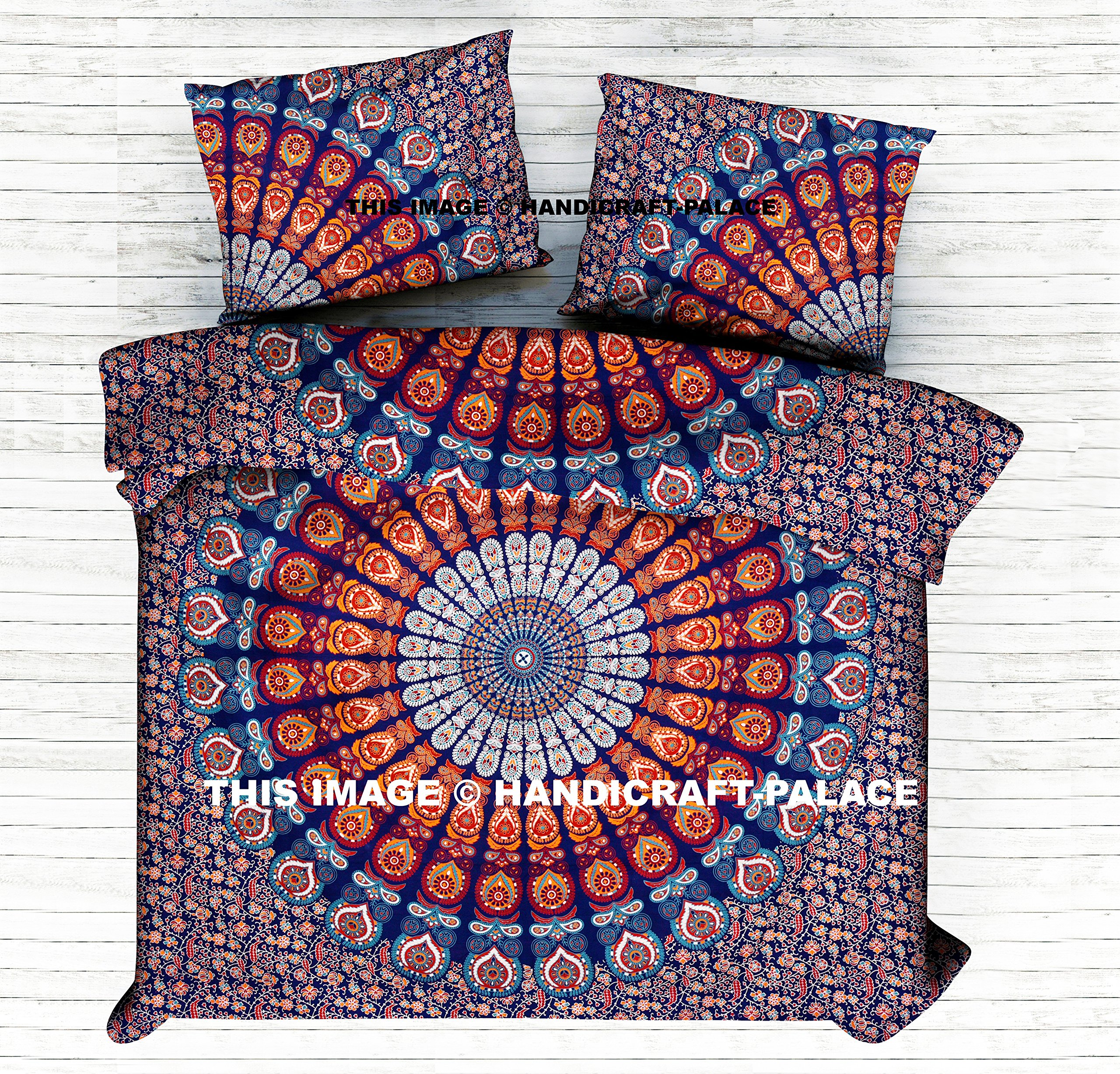 Ethnic Indian Peacock Mandala Print Bedding Duvet Quilt Cover Queen Duvet Set Cotton Handmade Bohemian By Handicraft-Palace