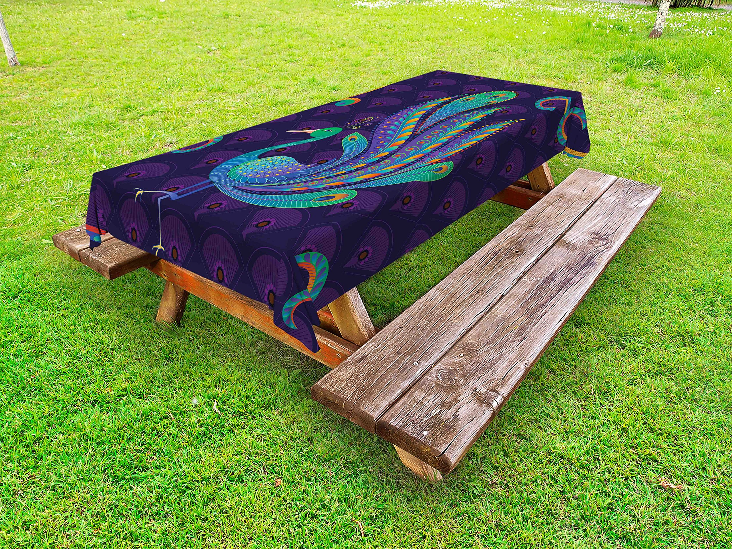 Ambesonne Ethnic Outdoor Tablecloth, Peacock Bird with Oriental Feather Before Eastern Spiritual Animal Image, Decorative Washable Picnic Table Cloth, 58 X 104 inches, Purple Green Blue