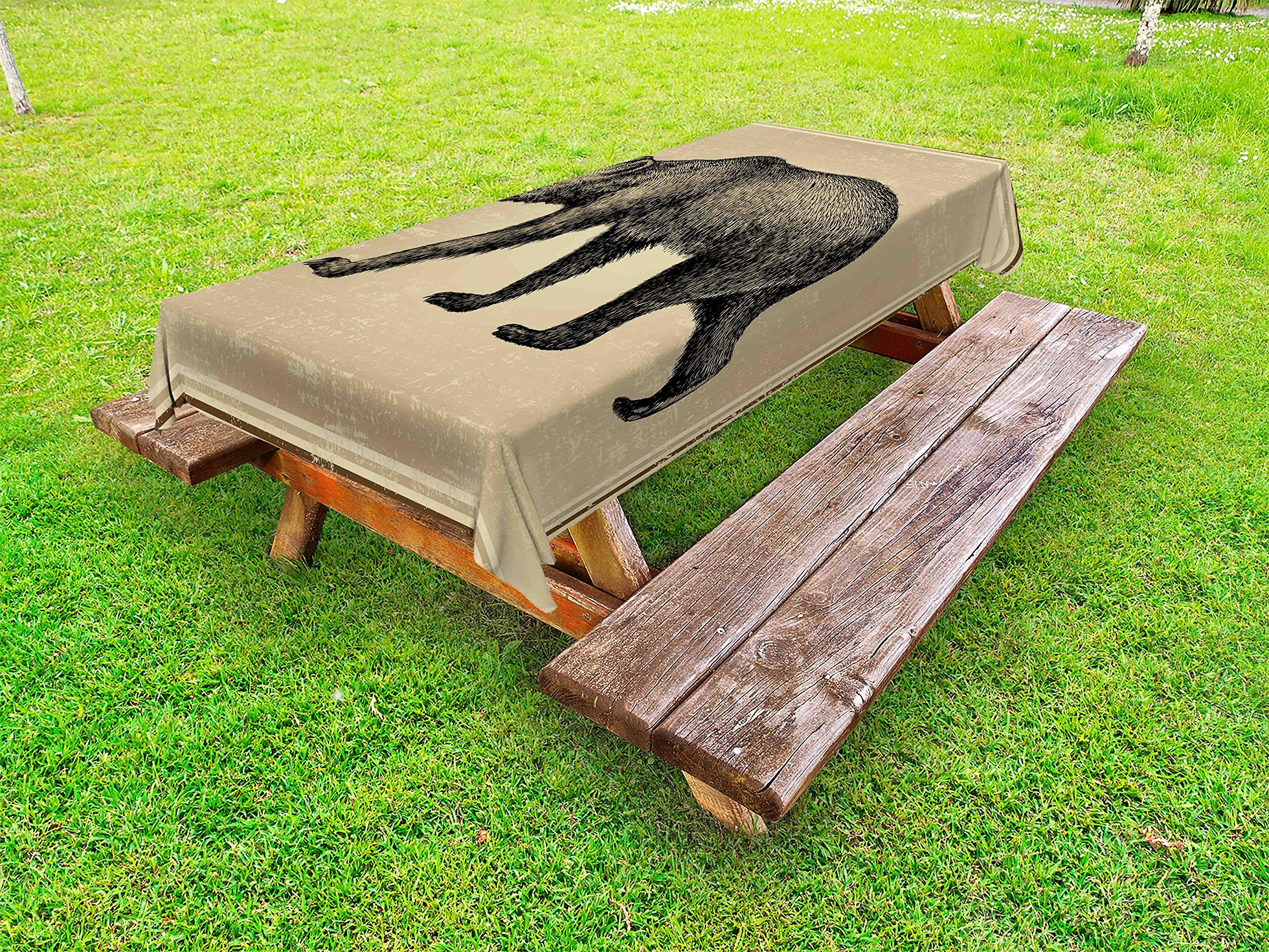 Lunarable Cabin Outdoor Tablecloth, Vintage Style Framework with Wild Animal Bear Hand Drawing Carnivore Sketch Art, Decorative Washable Picnic Table Cloth, 58 X 84 inches, Tan and Black