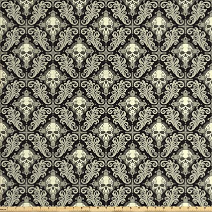 Lunarable Skull Fabric By The Yard Skulls With Cross And Floral Details Antique Victorian Design