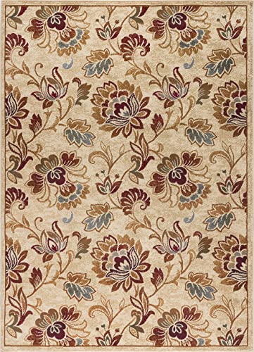 Courtney Transitional Floral Ivory Rectangle Area Rug, 5 x 7