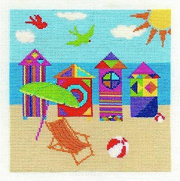 DMC - Juego de Punto de Cruz, diseño de casetas de Playa, Tela Aida Blanca de 14 Agujeros: Amazon.es: Hogar