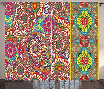 Ambesonne Ethnic Curtains, Persian Paisley Leaf Oriental Embellished Middle  Eastern Traditional Boho Art Print, Living Room Bedroom Window Drapes 2 ...