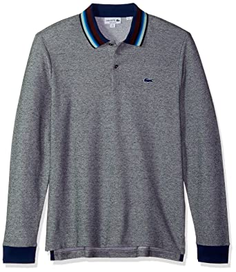 ca38f0fc6d Lacoste Men's Holiday Long Sleeve Slubbed Pique Polo-Regular Fit at Amazon  Men's Clothing store: