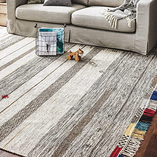 Stone Beam Contemporary Boho Colorful Fringe Wool Area Rug, 8 x 10 Foot, Tan Multi