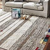 Amazon Brand – Stone & Beam Contemporary Boho Colorful Fringe Wool Area Rug, 8 x 10 Foot, Tan Multi
