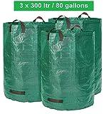 Gartensack - 300 LITER Volumen - 3 Stück im Set - Gartenabfallsack und Laubsack extra robust - faltbar - selbststehender big bag - Premiumqualität
