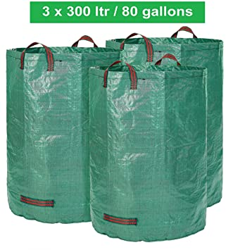 Garden bags 300 LITER volume 3 pieces in a set Garden waste