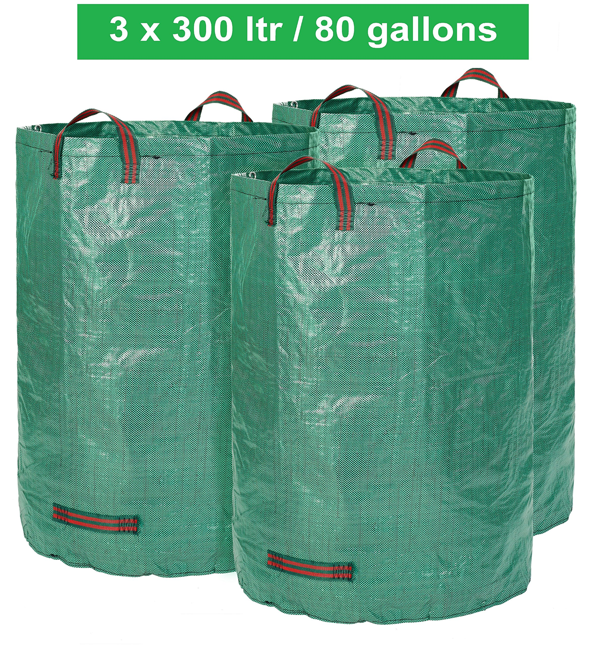 Glorytec 3 x 80 Gallons Leaf Bags - Extra Large Garden Bag - Comparative-Winner 2018 - Collapsible and Reusable Gardening Containers for Lawn and Yard Waste - 4 Handles
