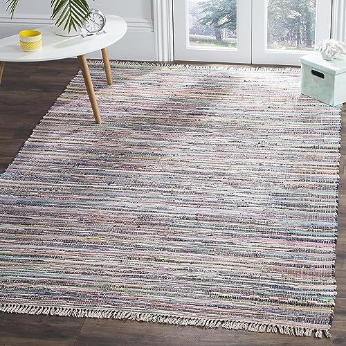 Safavieh Rag Rug Collection RAR121M Handmade Boho Stripe Cotton Area Rug