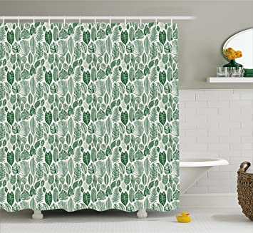 Botanical Shower Curtain By Ambesonne Vintage Floral Pattern With Detailed Exotic Leaves From Different Trees
