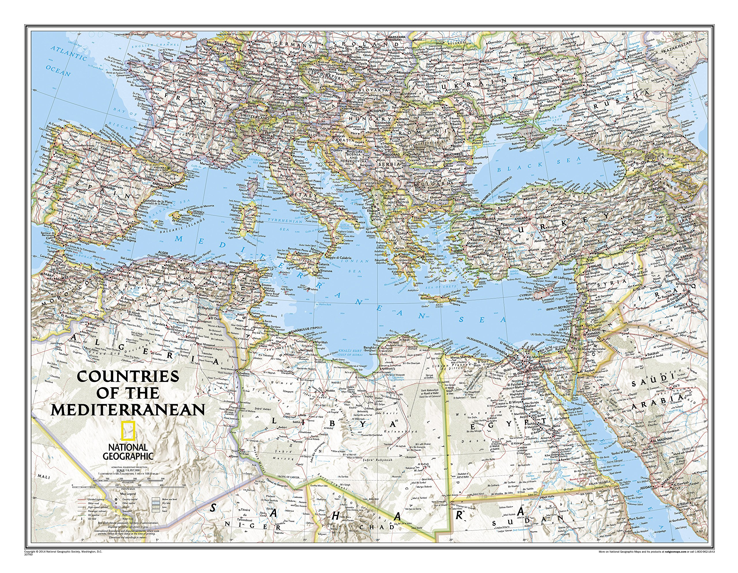 National Geographic: Countries of the Mediterranean Classic Wall Map (30.25 x 23.5 inches) (National Geographic Reference Map)