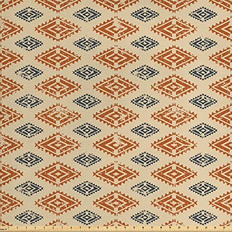 Amazon Com Ambesonne Zambia Fabric By The Yard Ethnic Tribal Folk