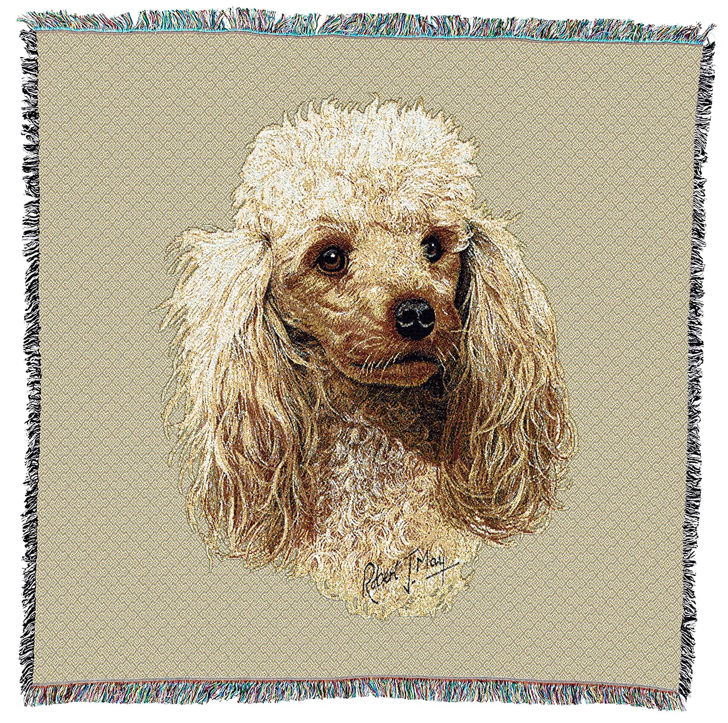 Old English Sheepdog Woven Blanket with Fringe Cotton USA 54x54 1149-LS Pure Country Weavers