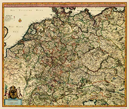 Amazon Com Old Germany Map German Roman Empire Visscher 1681