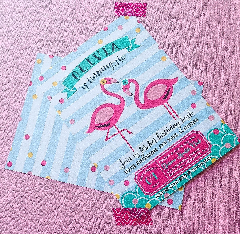 Amazon pink flamingo pool birthday party invitations handmade stopboris Choice Image