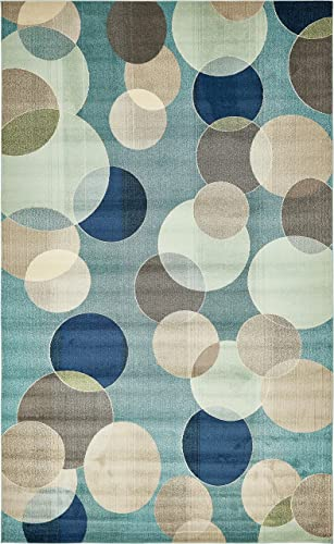 Unique Loom Chromatic Collection Modern Bokeh Kids Blue Area Rug 10 6 x 16 5