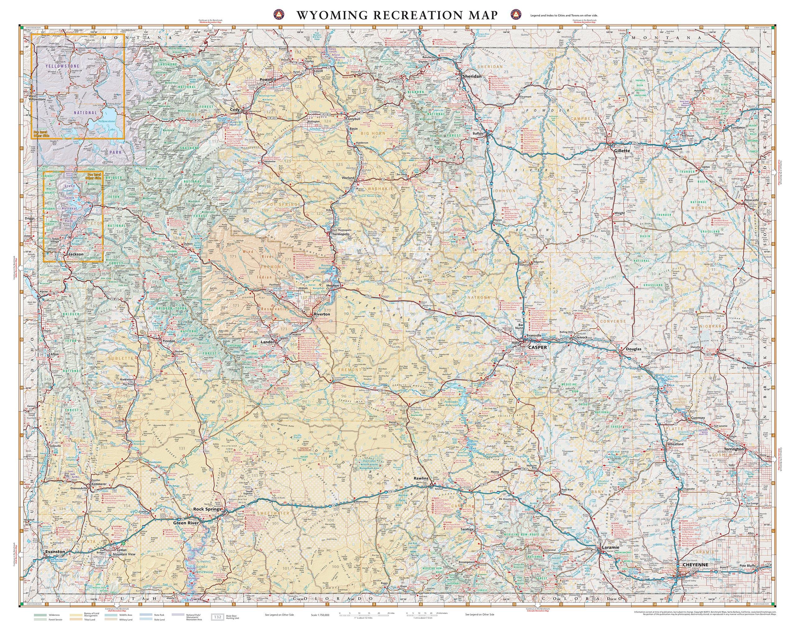 Wyoming Recreation Map Benchmark Maps 9780783499215 Amazoncom Books