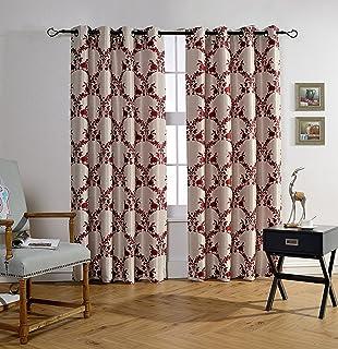 Mysky Home Lined Grommet Top Jacquard Room Darkening Curtain Panels For Bedroom 52 X 84