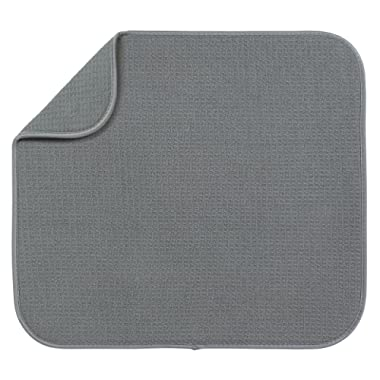 S&T Microfiber Dish Drying Mat, 16  x 18 , Gray