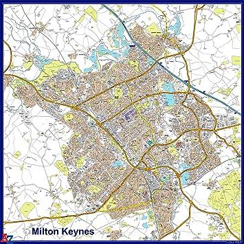 Milton Keynes 15k x 15k AZ Map Paper Laminated 130 x 130 cm
