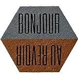 """Bloomingville 27-1/2""""L x 23-1/2""""W Coir Doormat with """"Bonjour/Au Revoir"""""""