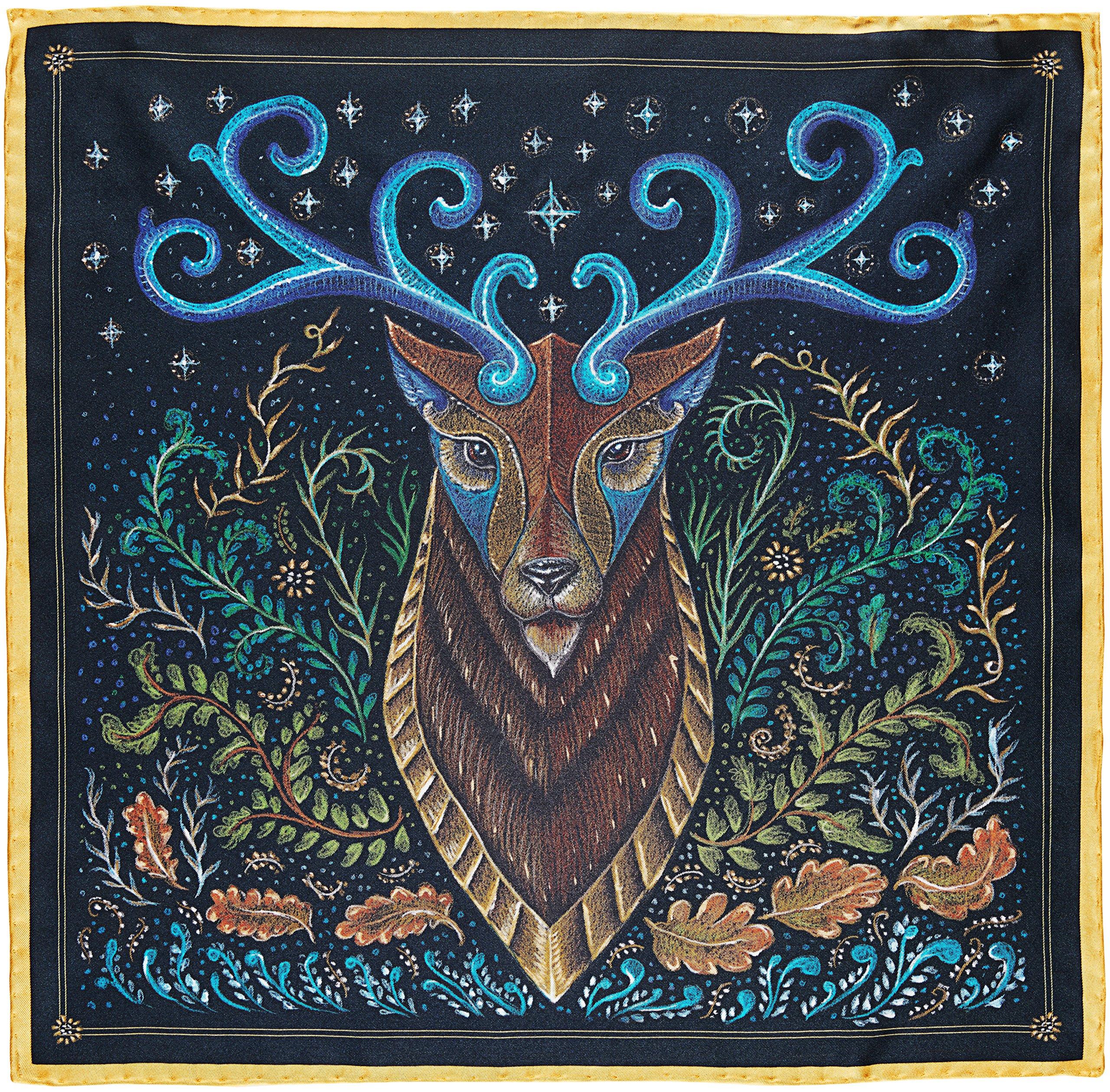 R. Culturi Made in Italy 100% Silk Pocket Square Original Artwork (Black/Gold) Gift Box