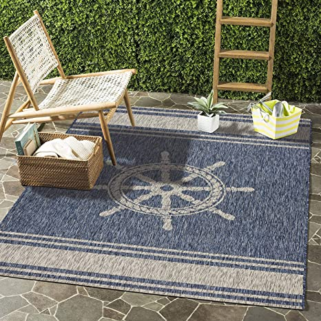 Amazon Com Lr Home Captiva Nautical Helm Indoor Outdoor Area Rug 5 X 7 Navy Gray Furniture Decor