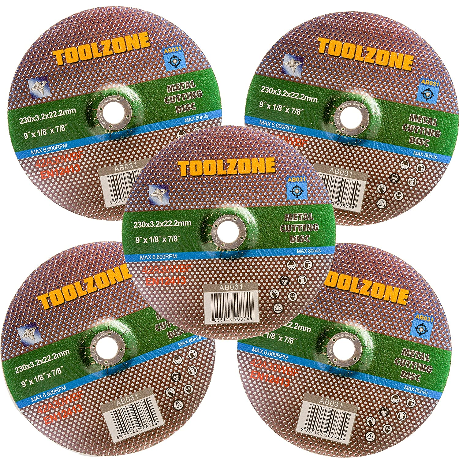 5x 230mm/9' Metal Cutting Discs | Thin 3.2mm Angle Grind Wheel With Depressed Centre White Hinge