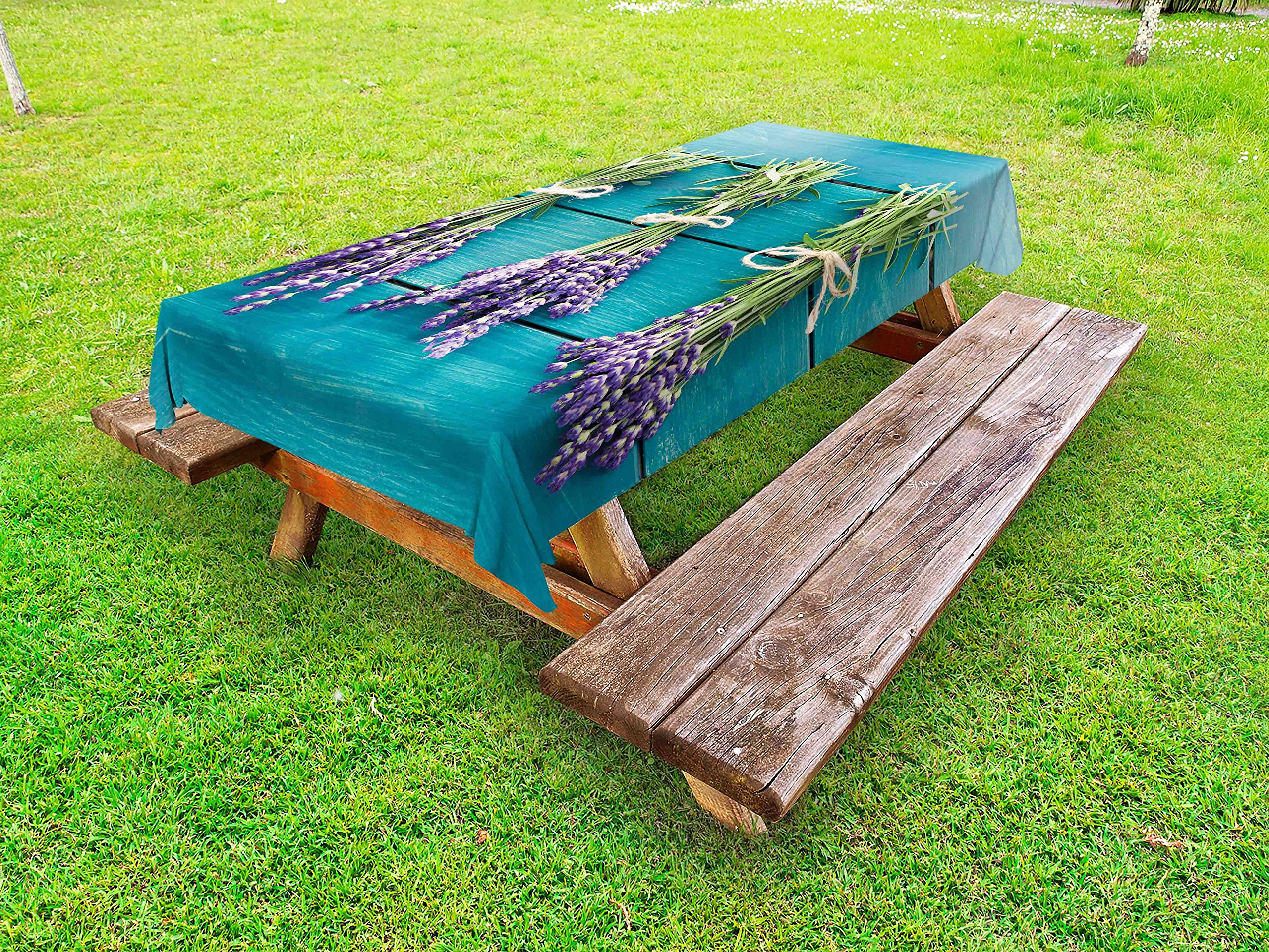 Lunarable Lavender Outdoor Tablecloth, Fresh Lavender Bouquets on Blue Wooden Planks Rustic Relaxing Spa, Decorative Washable Picnic Table Cloth, 58 X 84 inches, Sky Blue Lavender Green