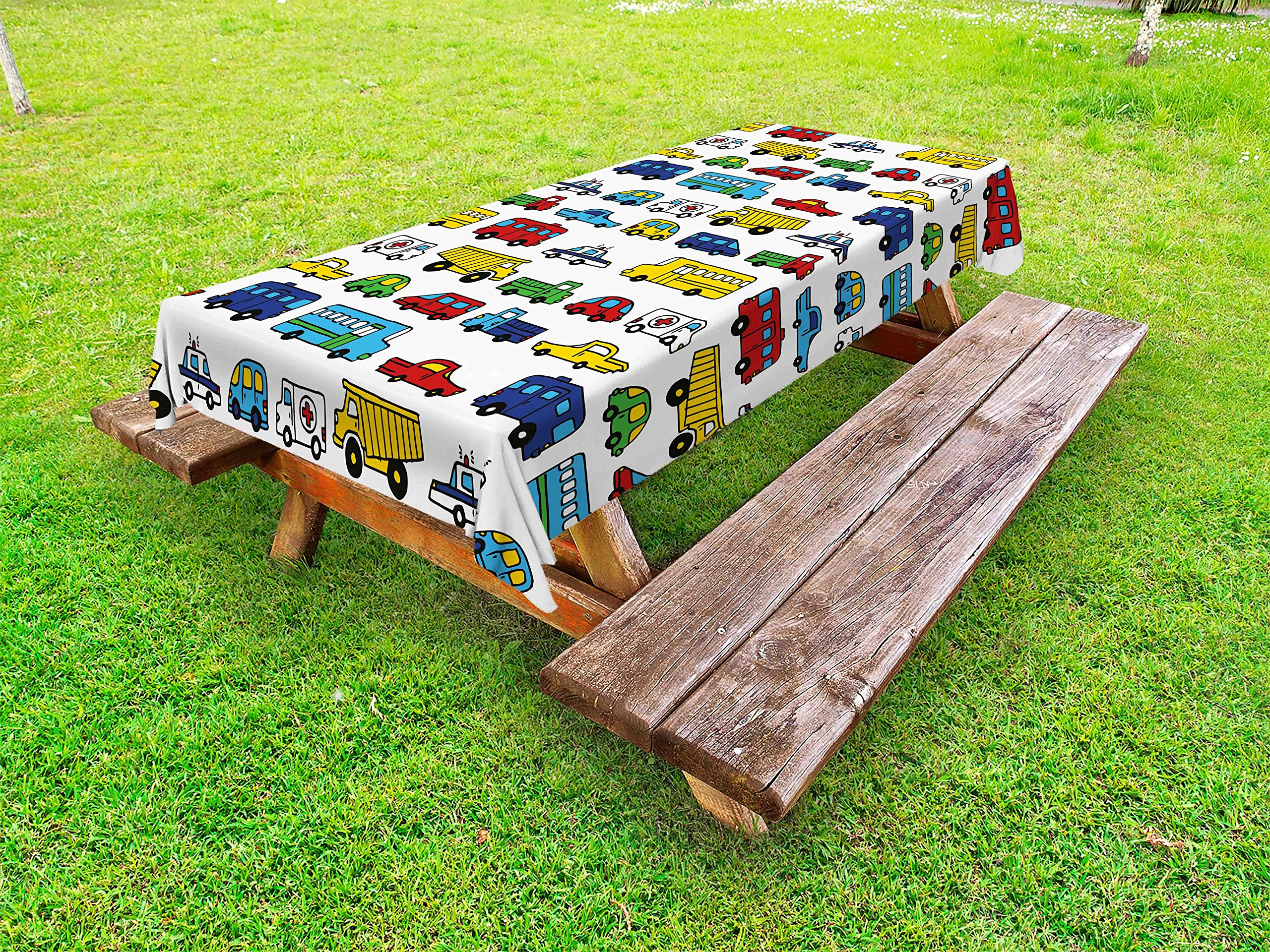 Lunarable Boy's Room Outdoor Tablecloth, Hand Drawn Doodled Car Pattern Cartoonish Style Police Ambulance School Bus Car, Decorative Washable Picnic Table Cloth, 58 X 120 inches, Multicolor