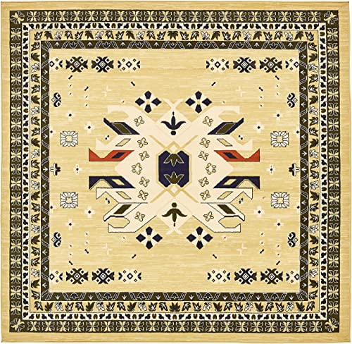 Unique Loom Taftan Collection Geometric Tribal Cream Square Rug 8 0 x 8 0