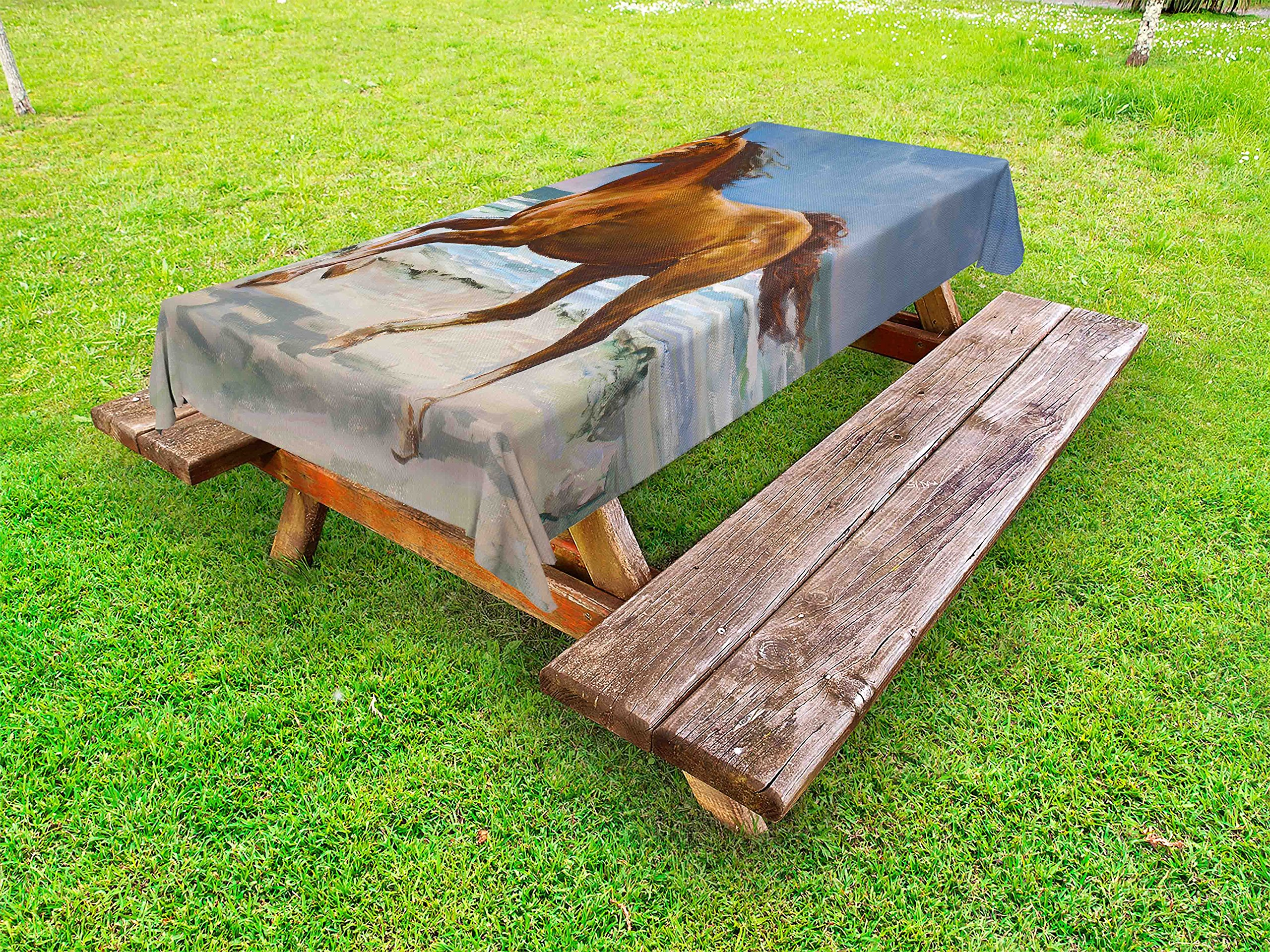 Lunarable Animal Outdoor Tablecloth, Nature Themed Painting of Chestnut Horse Galloping on Shore Print, Decorative Washable Picnic Table Cloth, 58 X 84 Inches, Slate Blue Pale Caramel
