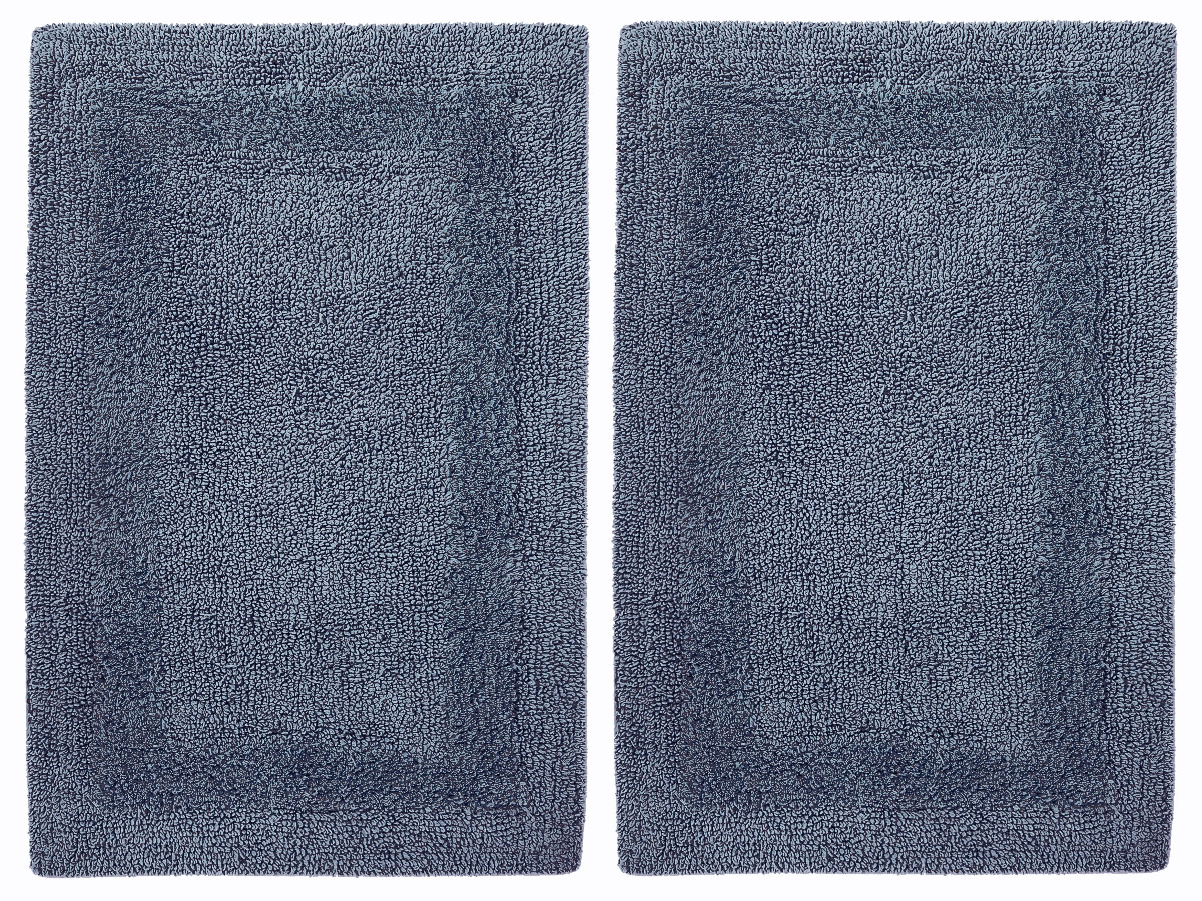 Cotton Craft 2 Piece Reversible Step Out Bath Mat Rug Set 17x24 Azure Blue, 100% Pure Cotton, Super Soft, Plush & Absorbent, Hand Tufted Heavy Weight Construction, Full Reversible, Rug Pad Recommended