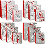 12 Merry Christmas Gift Bags Bulk 4 Large 4 Medium 4 Small Silver and Red Elegant Pop Up 3D Glitter and Foil Design with Handles and Tags for Kids Women Classroom Holiday Wrapping Party Favors Toys