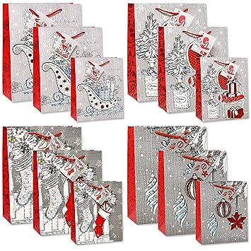 Christmas Gift Bags Bulk.12 Merry Christmas Gift Bags Bulk 4 Large 4 Medium 4 Small Silver And Red Elegant Pop Up 3d Glitter