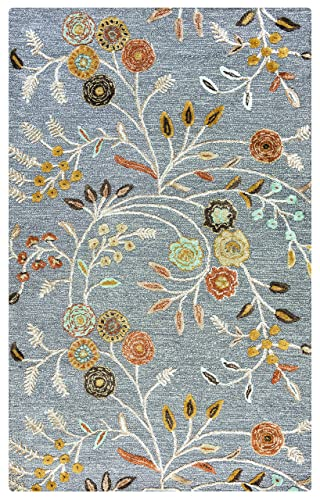 Rizzy Home Eden Harbor Collection Wool Viscose Area Rug, 3 x 5 , Grey Gray Rust Blue Floral