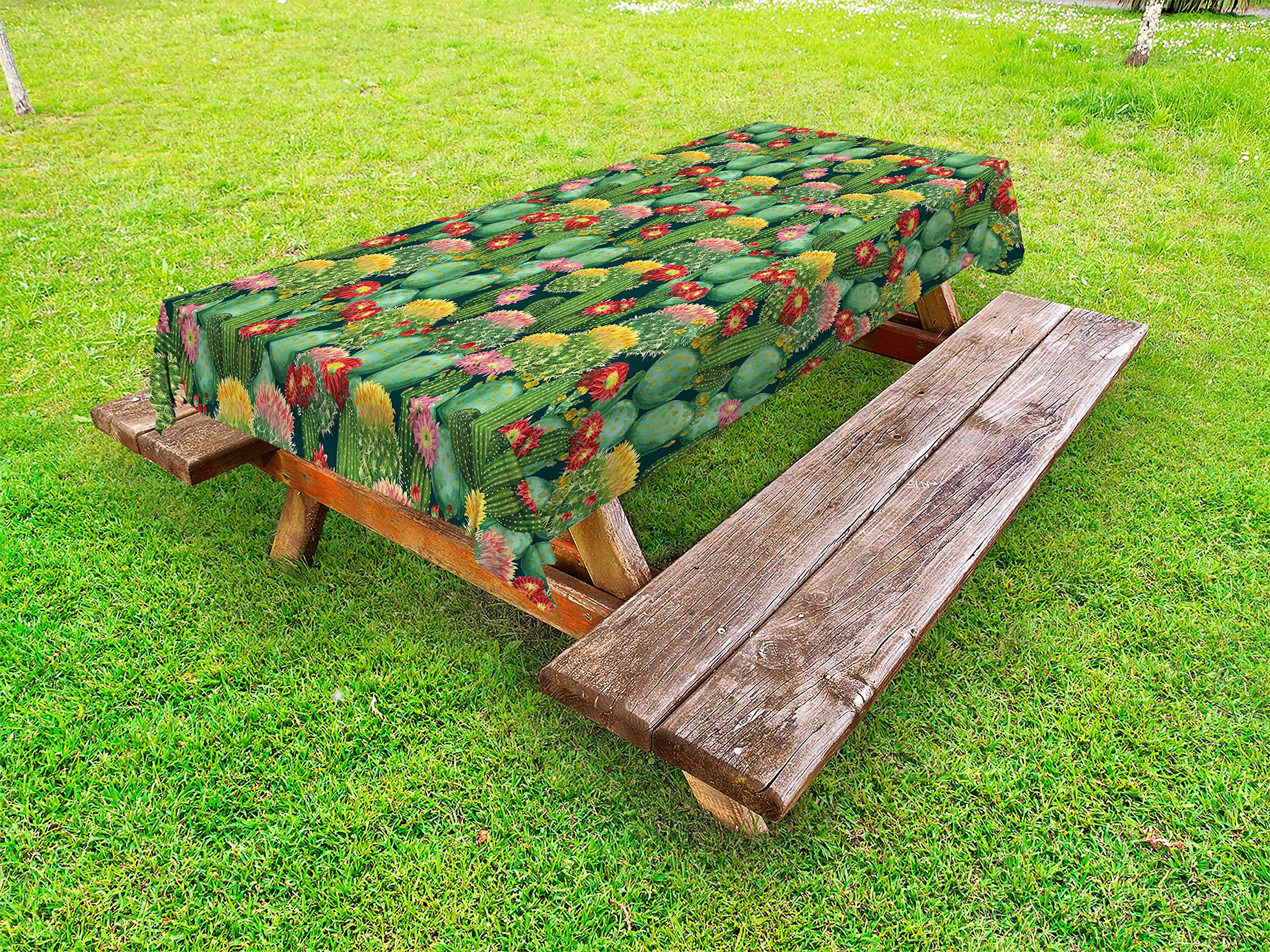 Ambesonne Nature Outdoor Tablecloth, Garden Flowers Cactus Texas Desert Botanical Various Plants with Spikes Pattern, Decorative Washable Picnic Table Cloth, 58 X 84 inches, Multicolor