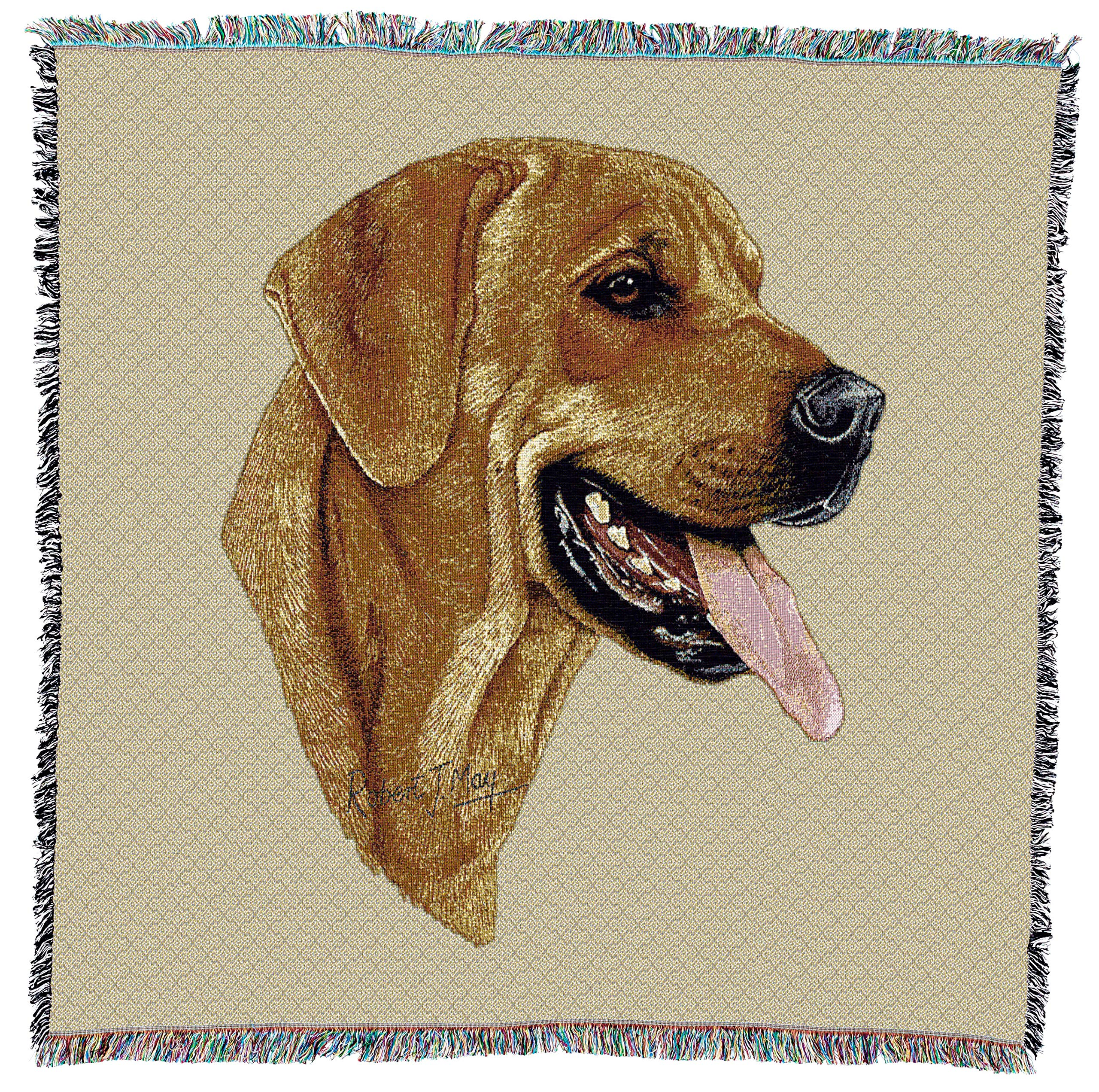Pure Country Weavers - Rhodesian Ridgeback Woven Throw Blanket with Fringe Cotton. USA Size 54x54