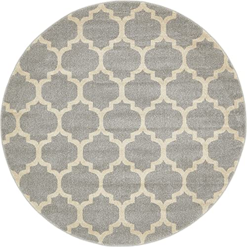Unique Loom Trellis Collection Moroccan Lattice Light Gray Round Rug 6 0 x 6 0
