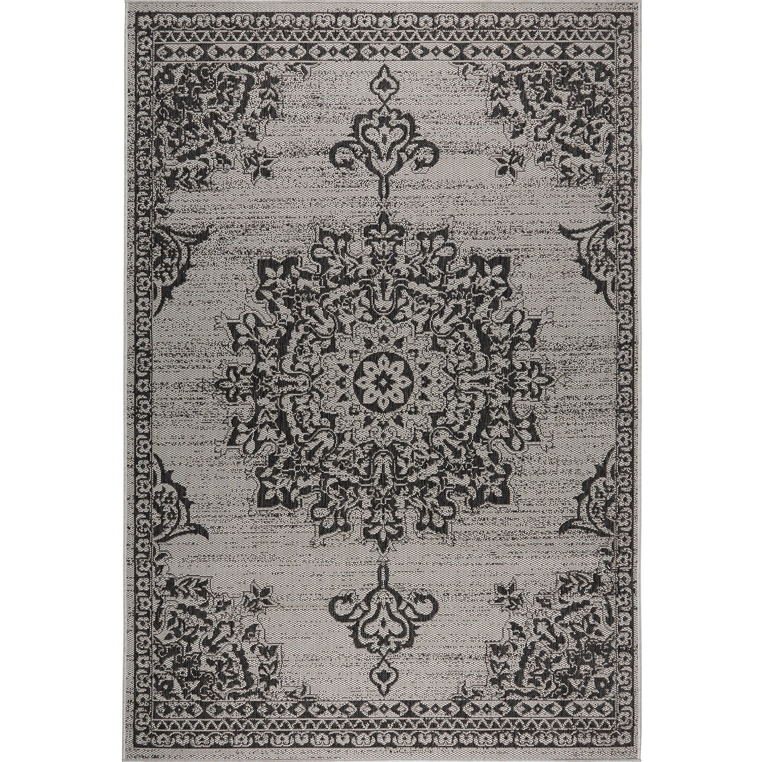 Home Dynamix Nicole Miller Patio Country Azalea Indoor/Outdoor Area Rug 7'9''x10'2'', Traditional Medallion Gray/Black by Home Dynamix (Image #2)