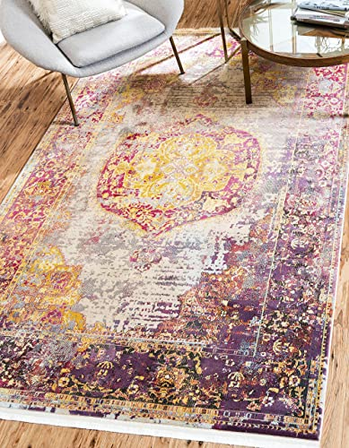 Unique Loom Baracoa Collection Bright Tones Vintage Traditional Multi Area Rug 8 4 x 10 0