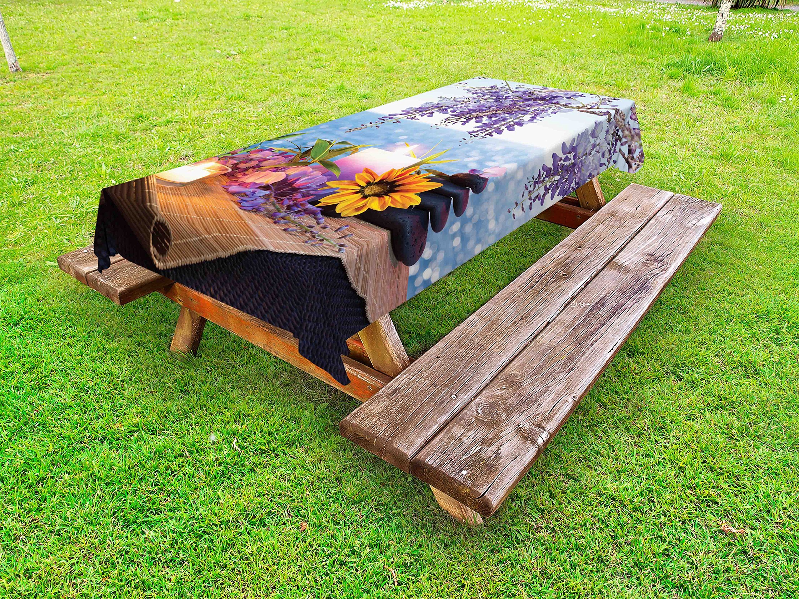 Lunarable Spa Outdoor Tablecloth, Massage Stones with Daisy and Wisteria with The Seabed Foliage Meditation, Decorative Washable Picnic Table Cloth, 58 X 120 inches, Pale Blue Lavander Green