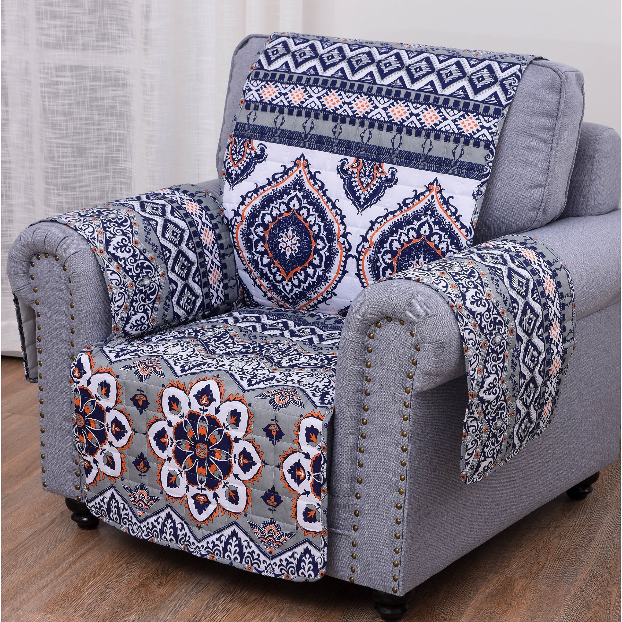 MN 1 Piece Blue White Paisley Theme Chair Protector, Gray Geometric Flower Pattern Couch Protection Flowers Floral Leaves Furniture Protection Cover Pets Animals Covers Nature, Polyester