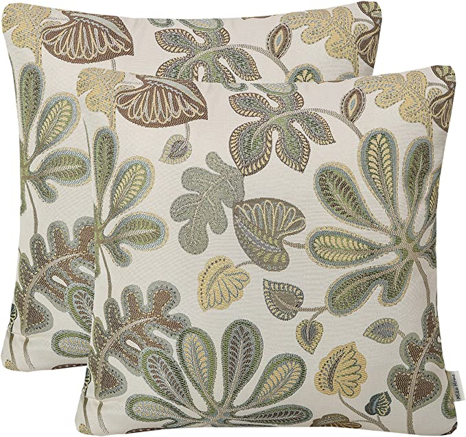 Amazon Com Mika Home Set Of 2 Jacquard Tropical Leaf Pattern Throw Pillow Covers Decorative Pillowcase 20x20 Inches Green Cream Home Kitchen