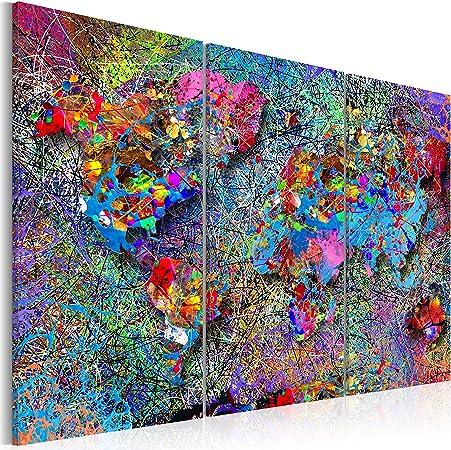 murando - Cuadro en Lienzo 60x40 cm - Mapamundo Impresión de 3 Piezas Material Tejido no Tejido Impresión Artística Imagen Gráfica Decoracion de Pared - Mapa del Mundo Continent k-A-0076-b-f: Amazon.es: Hogar