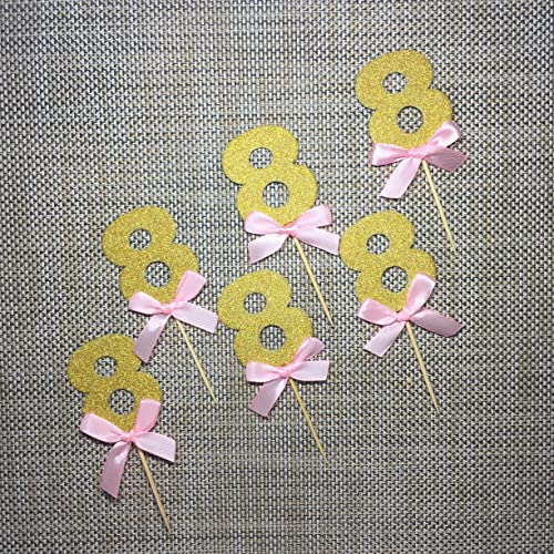 Amazon Pink And Gold 8th Birthday DecorationsNumber 8 Cupcake Toppers 6CT Handmade